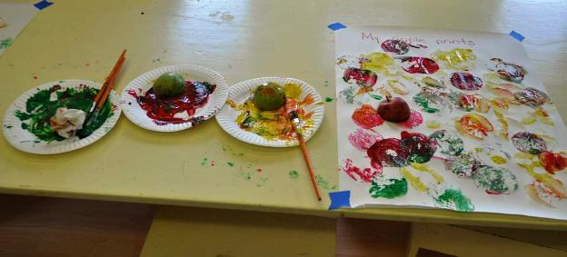 Early Childhood Art Project with apples